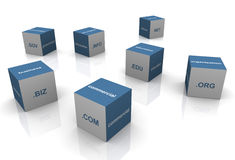 3d domain extension textboxes. 3d boxes with popular domain name extensions Stock Photography