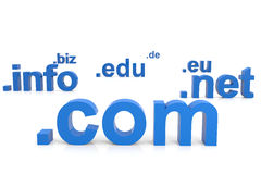 3D domain names. Internet concept. Royalty Free Stock Photo