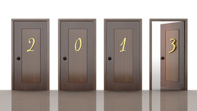 3d doors with new year 2013 Stock Photos