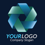 3D Double Triangle Logo. Logo 3d circles, green and blue, vector illustration Stock Photos