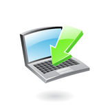3d download icon. Green arrow and laptop Royalty Free Stock Image