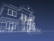 3d draw house. 3d illustration on dark background Stock Images