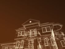 3d draw house. 3d illustration on dark background Stock Photo