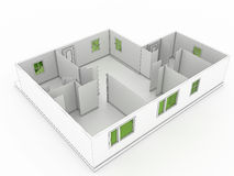 3d drawing of a building №1 Stock Image