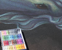 3D drawing with chalk. Chalk used to create 3D art on street Royalty Free Stock Images