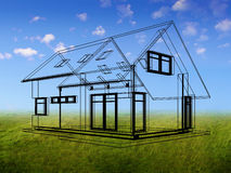 3d drawing of the house. Transparent drawing of the house on the outdoor background Royalty Free Stock Photos