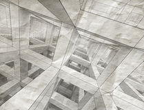 3d drawings with perspective view on old paper. Drawings with perspective view of an abstract 3d braced construction on old gray paper vector illustration