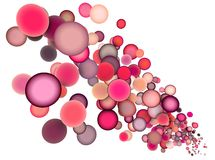 3d drijvende ballen in veelvoudige rozerode kleur Stock Afbeeldingen