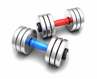 3D dumbbells. 3D isolated on white dumbbells each with different handle color Stock Images
