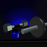 3D of a Dumbell, a Barbell and a suplement jar Royalty Free Stock Photos