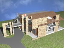 3d duplex house. 3d architectural building illustration background Royalty Free Stock Photography