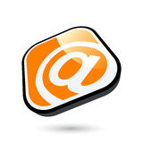 3D E-Mail Icon. 3D rounded square button illustration of an @ symbol in white against orange with a black and white border Royalty Free Stock Photo