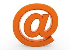 3d e-mailsymboolsinaasappel Stock Foto's