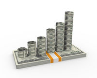 3d earning growth concept. 3d render of growth bars on dollar pack Stock Images