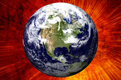 3D Earth. On Fire background royalty free illustration