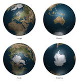 3d earth. Arctic- Europe - antartica- Oceania aspect of Earth Stock Photography