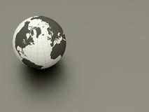 3d earth. 3d glossy earth on grey ground Royalty Free Stock Photo