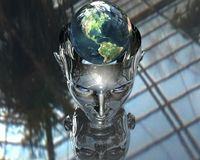 3D earth in 3D cyborg girl head Stock Images