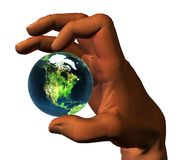 3D earth in 3D hand Stock Images