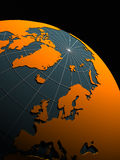 3d earth. Orange and blue 3d earth isolated on black background Royalty Free Stock Photography