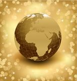 3d earth on abstract gold background. Vector Royalty Free Stock Photo