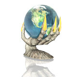 3D earth in alien hand isolated on a white. Background Stock Image