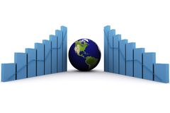 3d earth(americas) and graph Royalty Free Stock Photography