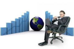 3d earth(americas) and graph Royalty Free Stock Image