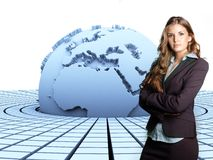 3d Earth And Businesswoman Royalty Free Stock Photo