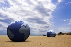 3d earth on the beach. Under cloudy blue sky stock illustration