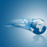 3D EARTH BLUE BACKGROUND. Fast 3d world on a blue background Stock Photo