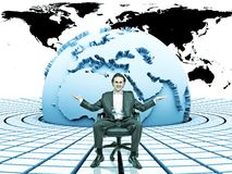 3d earth and businessman. 3d rendered earth with circular blocks around it with a businessman sitting on them with empty hands royalty free stock photos