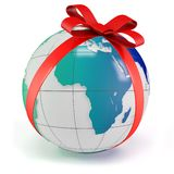 3d earth globe gift with red bow Royalty Free Stock Photo
