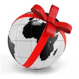 3d earth globe gift with red bow Stock Image
