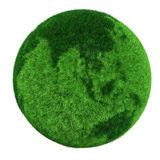 3d earth globe made of grass. Isolated on white Royalty Free Stock Photos