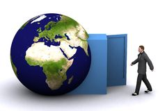 3d earth and man Stock Photo