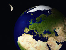 3D earth and moon from space Royalty Free Stock Image