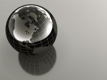 3d earth on reflective background. 3d glossy earth on reflective background Stock Image