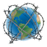 3d earth surrounded by barbed wire. Over white background Royalty Free Stock Image