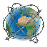 3d earth surrounded by barbed wire. Over white background Royalty Free Stock Images
