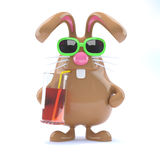 3d Easter bunny has a cool drink Stock Photos