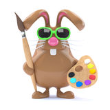 3d Easter bunny loves to paint Stock Images