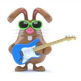 3d Easter bunny played guitar. 3d render of a chocolate Easter bunny with electric guitar Royalty Free Stock Photo