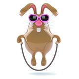 3d Easter bunny skips happily Royalty Free Stock Photo