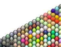 3d easter egg in multiple bright color on white. Isometric 3d render easter egg in multiple bright color on white Stock Photo
