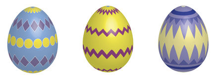 3D Easter Eggs. Decorative 3D looking easter eggs royalty free illustration
