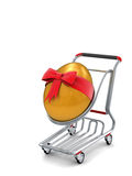 3d Easter gold egg gift in shopping cart icon. Gold giant Easter egg in a shopping cart rendered with realistic soft shadows Stock Images