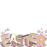 3D easter greeting. 3D easter with foliage and eggs isolated on white background Royalty Free Stock Photography
