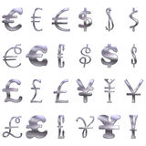 3D Eccentric  Silver Currency Symbols Royalty Free Stock Image