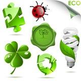 3D eco symbols. Set of 3D eco symbols isolated on white Stock Photo
